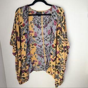 Angie Yellow Floral Kimono - size medium
